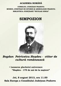 """Simpozion """"Bogdan Petriceicu Haşdeu – ctitor de cultură românească"""""""