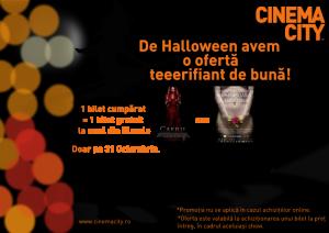 Cinema City vă oferă 2 bilete la preţ de 1, de Halloween