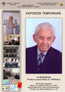 "Expoziţie ""IN MEMORIAM Profesor Emerit PAUL D. POPESCU"""