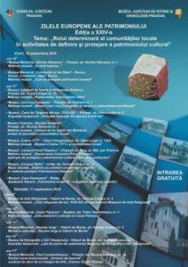 Zilele Europene ale Patrimoniului, sărbătorite în toate secţiile Muzeului Judeţean de Istorie şi Arheologie Prahova