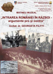 """""""Intrarea României în Război – argumente pro și contra"""""""