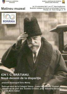 """""""Ion I.C. Brătianu. Nouă decenii de la dispariţie"""""""