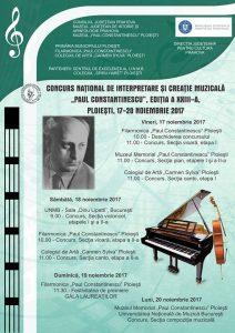 """Concursul Naţional de Interpretare şi Creaţie Muzicală """"Paul Constantinescu"""", ediția aXXIII-a"""